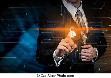 бизнес, конфиденциальность, технологии, concept., cyber, защита, безопасность, данные