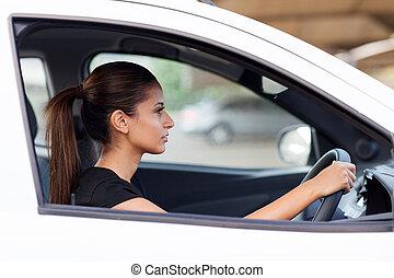 бизнес-леди, водить машину, к, работа