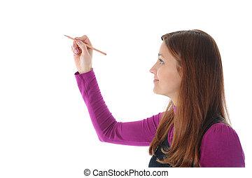 бизнес-леди, держа, ручка