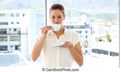 бизнес-леди, питьевой, кофейная чашка
