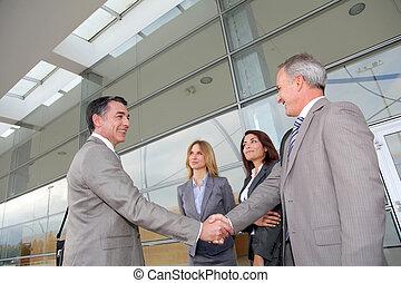 бизнес, люди, встреча, в, an, выставка