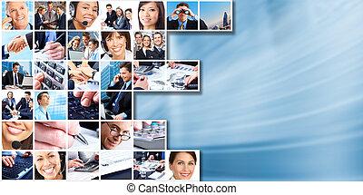 бизнес, люди, группа, collage.