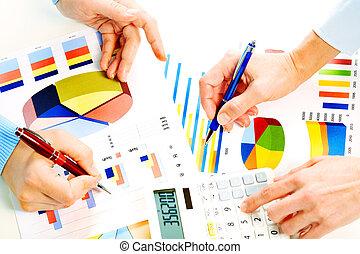 бизнес, люди, за работой, with, graphs.
