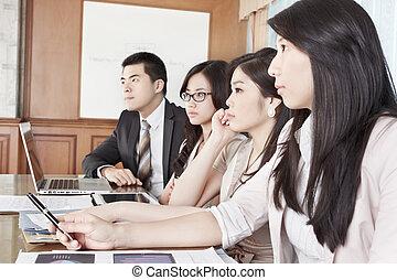 бизнес, люди, прослушивание, в, встреча