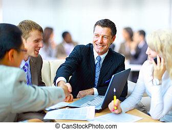 бизнес, люди, shaking, руки, finishing, вверх, встреча