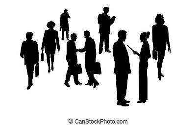 бизнес, люди, silhouettes