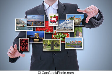 бизнес, рука, держа, , трогать, подушечка, компьютер, and, 3d, streaming, images