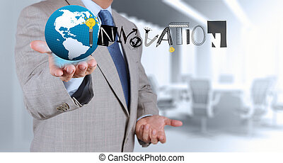 бизнес, рука, рисование, графический, дизайн, инновация, слово, в виде, концепция