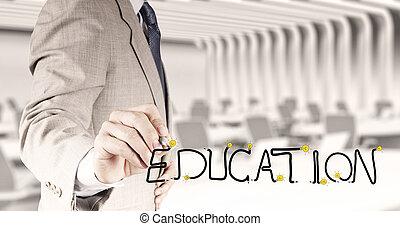 бизнес, рука, рисование, графический, дизайн, образование, слово, в виде, концепция