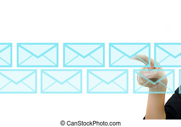 бизнес, рука, pushing, почта, для, социальное, сеть, на, , сенсорный экран, interface.