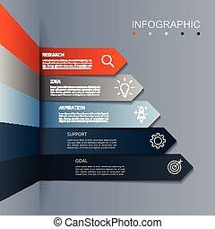бизнес, современное, шаг, infographic, 5, стрела