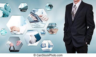 бизнес, тема, фото, коллаж, состоящий, of, мало, images