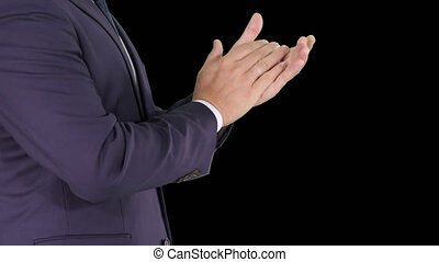 бизнес, хлопающий, альфа, руки, канал, человек