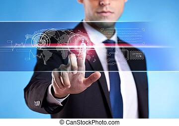 бизнес, человек, в, костюм, прессование, buttons
