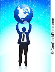 бизнес, человек, держа, , земной шар, задний план