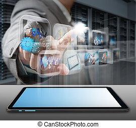 бизнес, человек, инженер, в, данные, центр, сервер, комната
