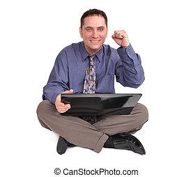 бизнес, человек, сидящий, with, портативный компьютер