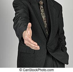 бизнес, человек, with, an, открытый, рука, готов, к, печать, , по рукам