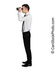 бизнес, человек, with, binoculars