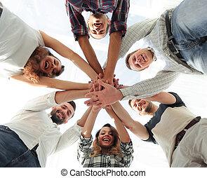 бизнес, clasped, вместе, руки, команда