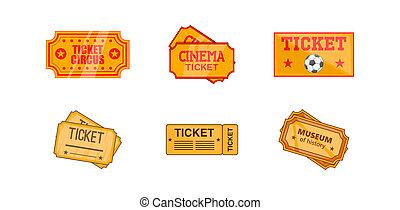 билет, значок, задавать, мультфильм, стиль