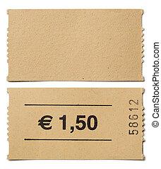билет, огрызок, isolated, на, белый