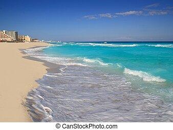 бирюзовый, карибский, канкун, берег, море, пляж