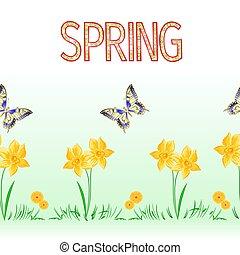 бледно-желтый, задний план, бесшовный, граница, бабочка, вектор, весна