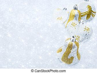 блестящий, задний план, снег, украшения, рождество