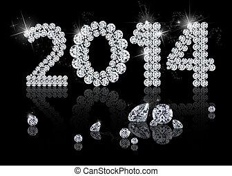 блестящий, новый, год, 2014