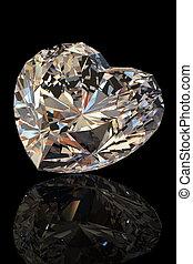 блестящий, форма, of, heart., коньяк, бриллиант
