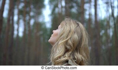 блондинка, женщина, лес, симпатичная