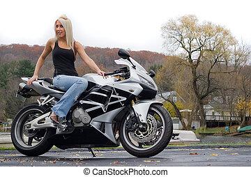 блондинка, женщина, на, , мотоцикл