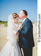 блондинка, невеста, and, жених, на, , песок
