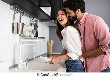 блюда, пара, молодой, в обнимку, в то время как, весело, having, кухня