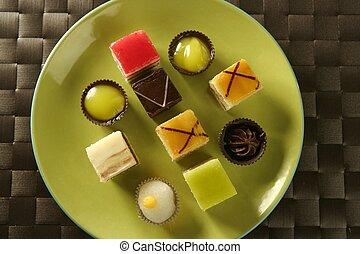 блюдо, над, зеленый, pastries