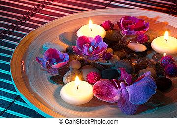блюдо, спа, with, плавающий, свечи