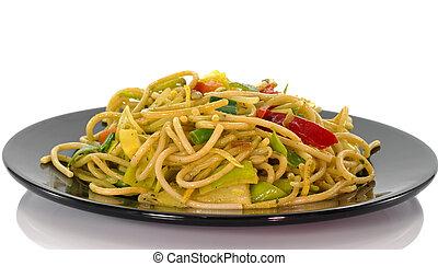 блюдо, noodles, обедающий