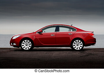 боковая сторона, посмотреть, of, вишня, красный, автомобиль