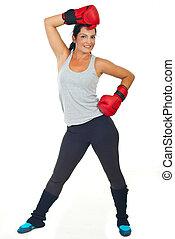 боксер, женщина, счастливый
