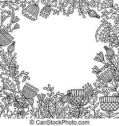 болван, рамка, coloring, цветы, страница