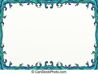 болван, украшение, волнистый, море, граница, страница