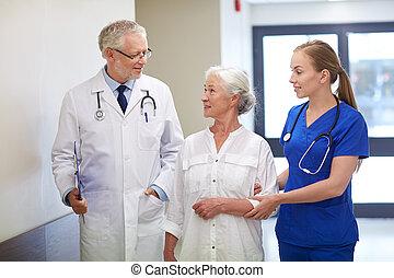 больница, женщина, пациент, старшая, medics