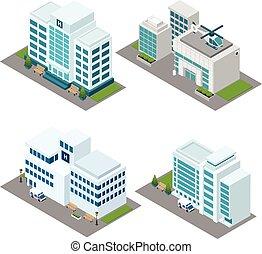 больница, задавать, изометрический, icons