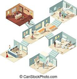 больница, концепция, изометрический