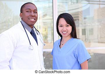 больница, разнообразный, медицинская, команда