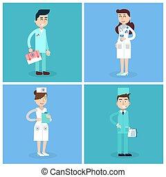 больница, staff., doctor., иллюстрация, team., вектор, здоровье, медсестра, лекарственное средство, care., concept., professional., медицинская