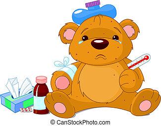 больной, тедди, медведь