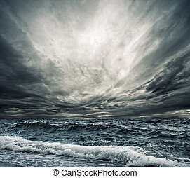 большой, берег, поломка, океан, волна