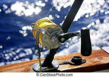 большой, глубоко, игра, ловит рыбу, море, лодка